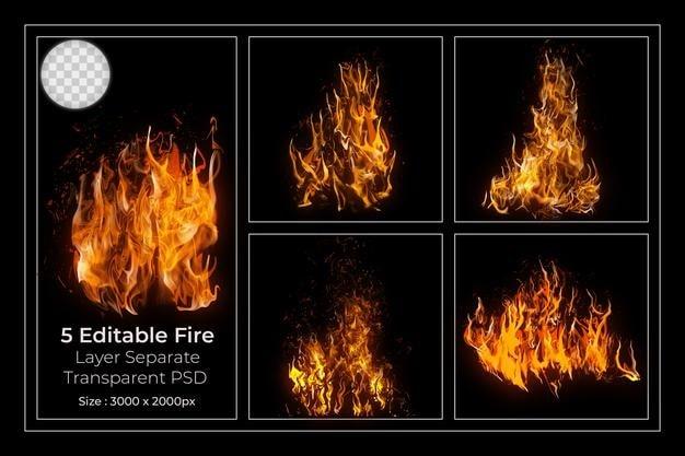 مجموعه 5 شعله زرد آتش لایه باز